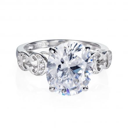 Baron Sterling Silver Ring with White Zirconia Stones