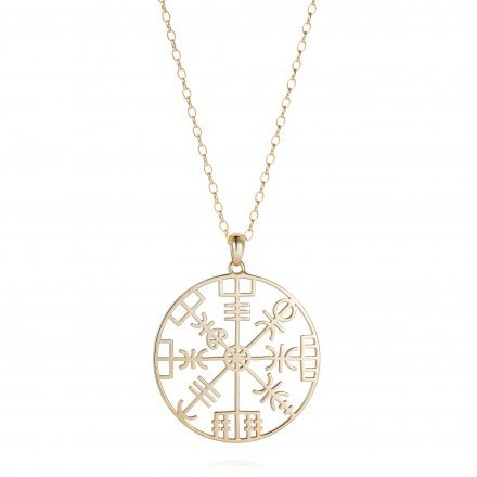 Yellow Gold Direction Symbol Necklace