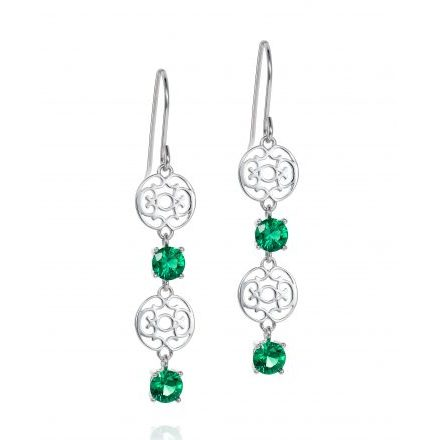 Emerald Green Zirconia Drop Earrings