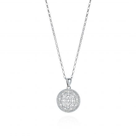 Baron Sterling Silver Necklace With White Zirconia Stones