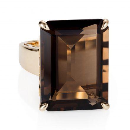 Baron 14K Yellow Gold Ring With Smokey Quartz Stone