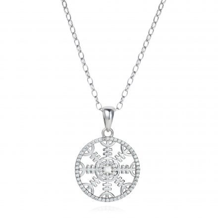 Helm of Awe Sterling Silver Necklace With White Zirconia Stones