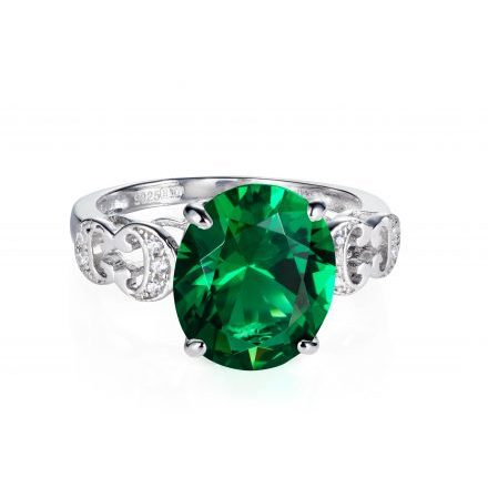 Baron Sterling Silver Ring with Green Zirconia Stone