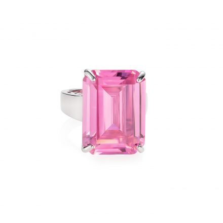 Sterling Silver Ring With Pink Zirconia Stone