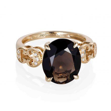 14K Yellow Gold Ring With Smokey Quartz.